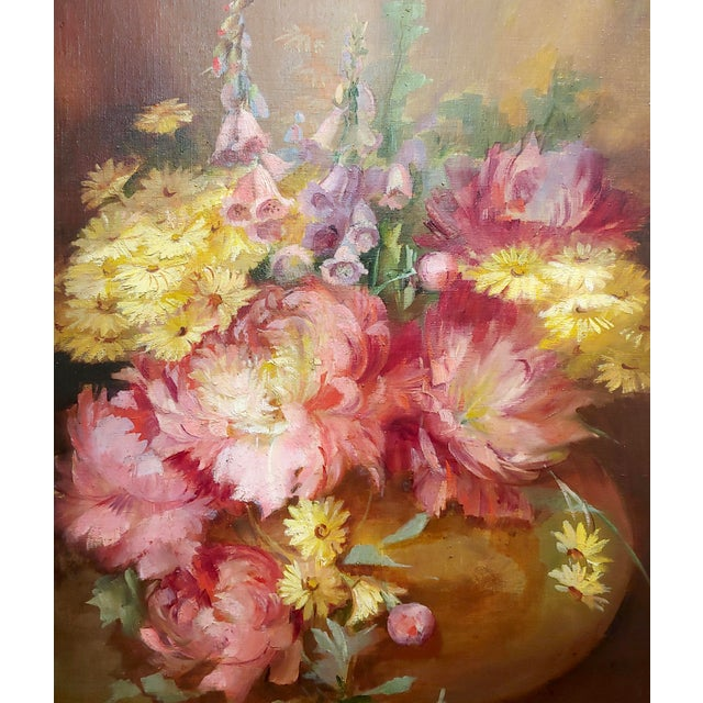 Florine Hyer - Beautiful Still Life of Flowers - Oil Painting -C1900 For Sale - Image 4 of 9