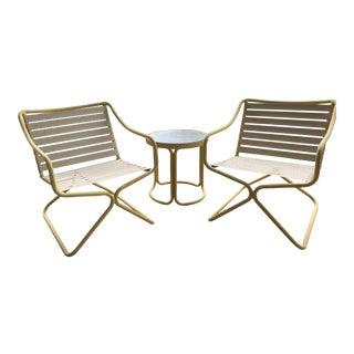 Brown & Jordan Tubular Aluminum Patio Dining Set - Set of 3 For Sale