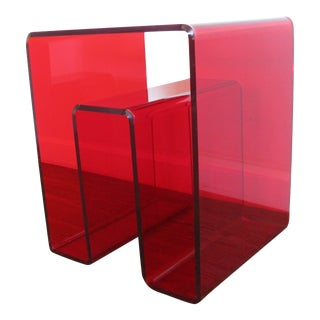 Modern Red Acrylic Lucite Clear Accent Side Table For Sale