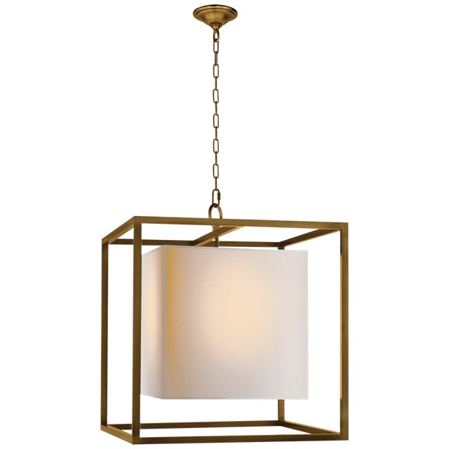 Modern Square Brass Chandelier With Linen Shade For Sale In New York - Image 6 of 6