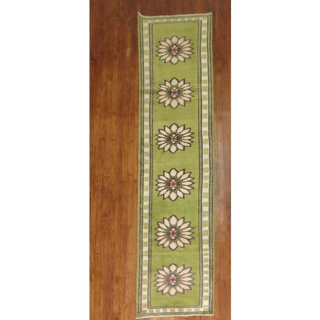 Lime Green Vintage Konya Runner - 2'4'' X 11'4'' - Image 2 of 5