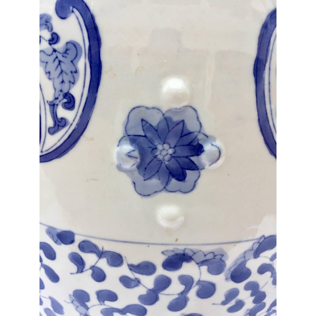 Mid 20th Century Chinese Porcelain Garden Seat in Blue and White Floral Motif For Sale - Image 5 of 13