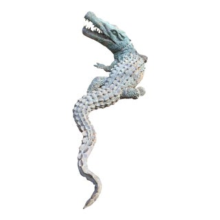 1990s Vintage Bronze Alligator Crocodile Garden Statuary For Sale