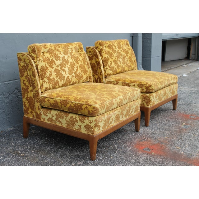 1950s Vintage Velvet Winged Sided Lounge Chairs - a Pair For Sale - Image 5 of 11