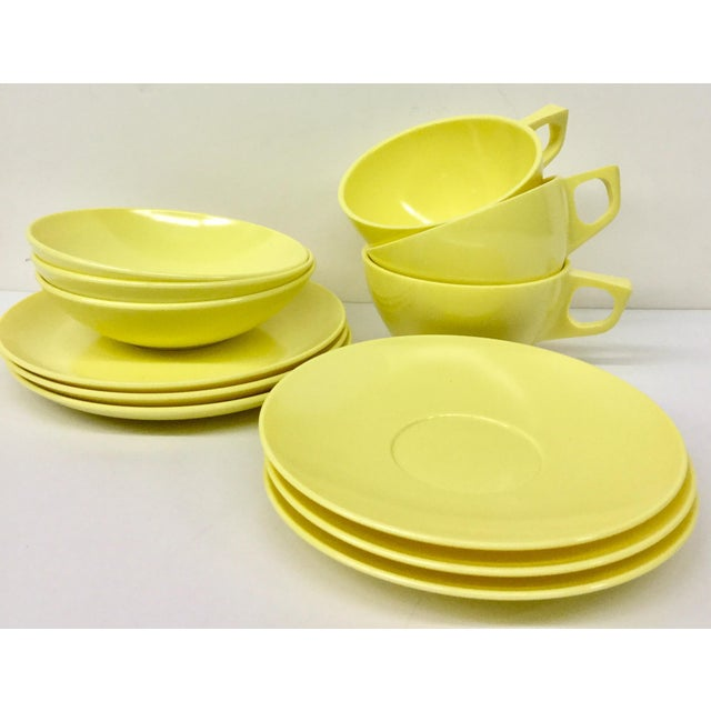 Vintage set for 3 people lunch tableware by Melmac. Never used and perfect color for 2018. Cup and saucer, sandwich plate...