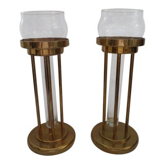 Vintage Mid-Century Brass and Glass Floating Candle Holders - a Pair For Sale