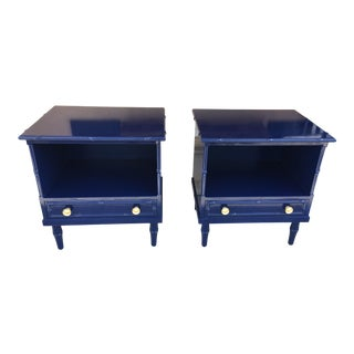 1970s Vintage Bamboo Nightstands-a Pair For Sale