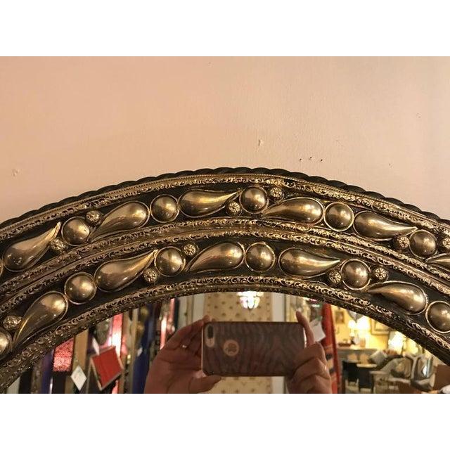 Eye Ball Form Art Deco Style Metal Wall Mirror - Image 5 of 10