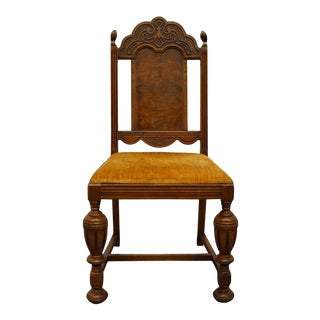 Vintage Antique Walnut English Revival Gothic Jacobean Style Dining Side Chair For Sale