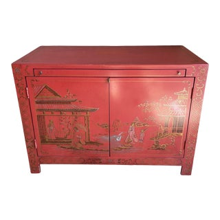 Vintage Red Lacquer Chinoiserie Dry Bar Cabinet For Sale