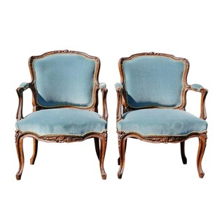 Pair of Louis XV Style Walnut Fauteuil For Sale