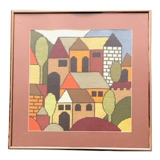 Vintage Needlepoint Art Village Scene