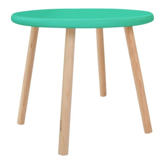"Peewee Large Round 30"" Kids Table in Maple With Mint Finish Accent For Sale"