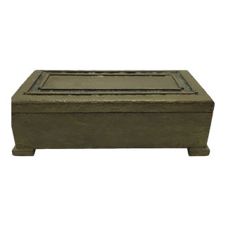 Antique Arts and Crafts Green Gold Textured Lidded Trinket Box For Sale