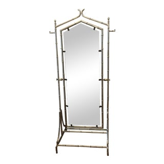 Hollywood Regency Style Metal Bamboo Double-Sided Standing Mirror For Sale
