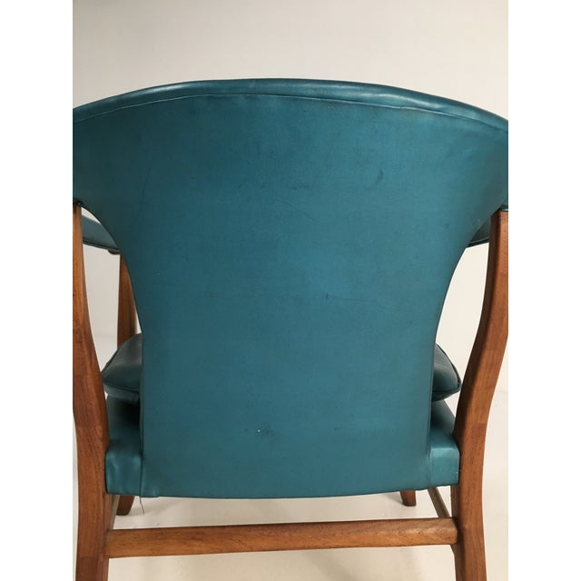 Turquoise Mid-Century Walnut Ming Horseshoe-Style Slipper Armchair For Sale - Image 8 of 13
