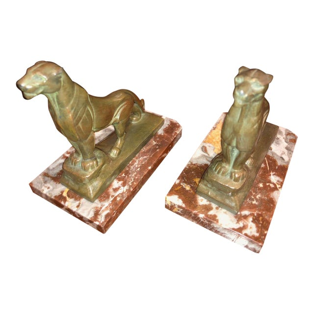 French Art Deco Panther Leopard Panther Bookends by Maurice Frecourt, 1930 Statue - a Pair For Sale