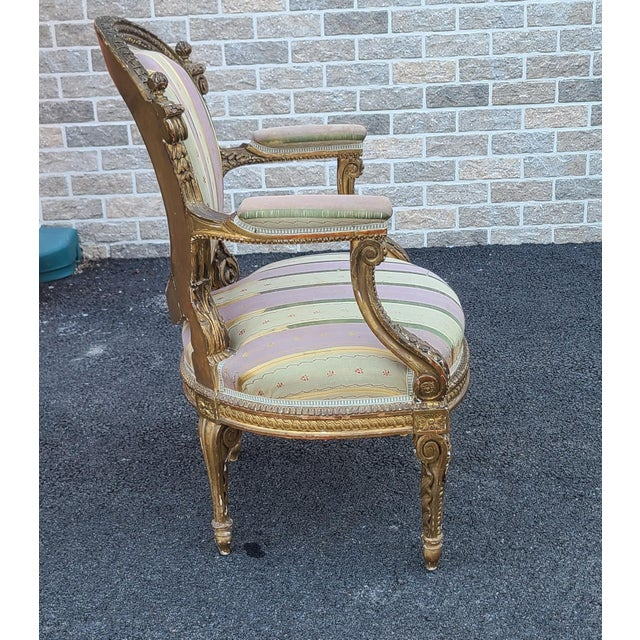 Fine Early 19th Century French Louis XVI Style Gilded Parlor Armchair For Sale - Image 10 of 12