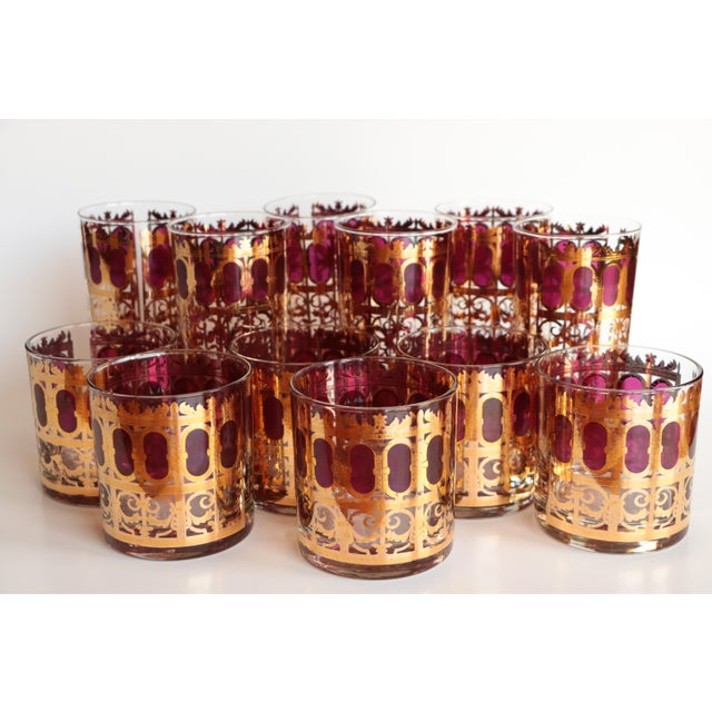 Culver Cranberry Scroll Highball and Lowball Glasses - Set of 12 - Image 2 of 9