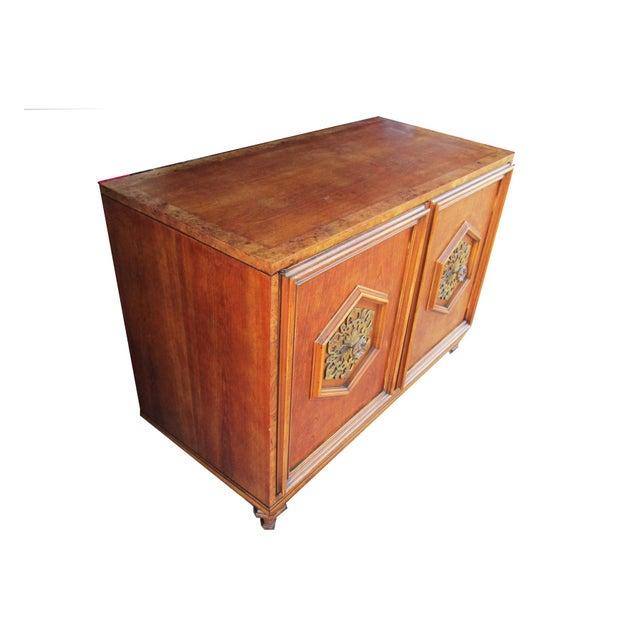 Ornate Burled Wood Hollywood Regency Dresser Cabinet By Peppler For Sale - Image 4 of 9