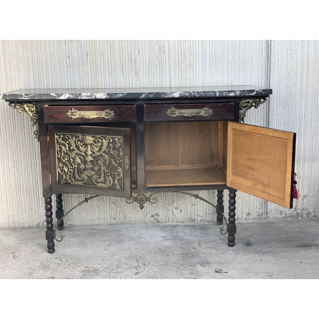 Late 19th Century 19th Spanish Buffet, Cupboard in Walnut and Top Marble With Bronze Decorations For Sale - Image 5 of 12