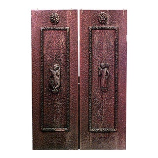 Burmese Carved Walnut Door Panels - a Pair For Sale