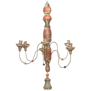 Antique Tuscan Wood Carved Chandelier For Sale
