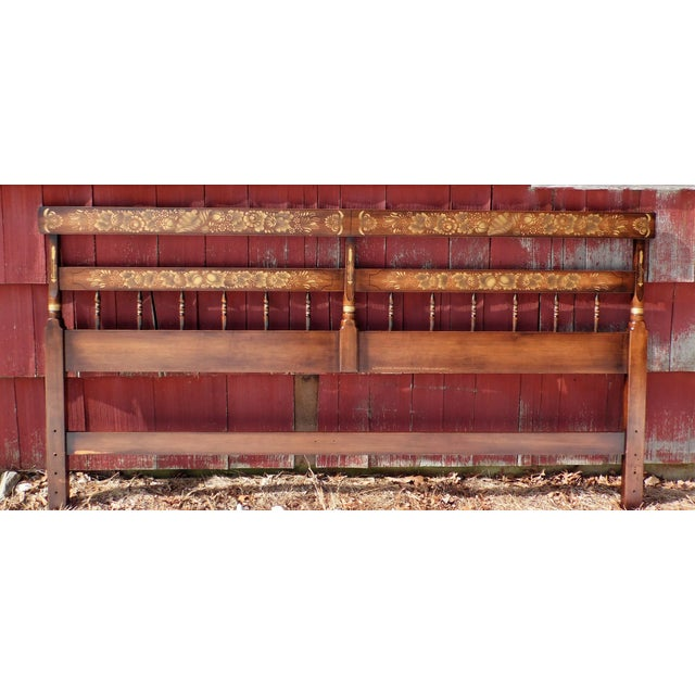 Vintage Hitchcock Maple Autumn Harvest Stenciled Litchfield King Bed Headboard For Sale - Image 11 of 11