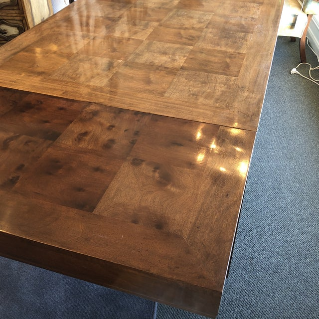 Custom Parquet Extension Dining Table For Sale - Image 12 of 13