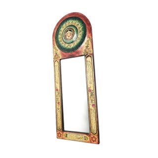 1960s Boho Chic Hand Painted Leather Kashmiri Indian Mirror For Sale