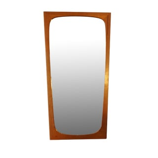 "Danish Modern Tall Teak Mirror 27.5"" high - Signe"