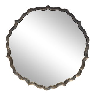 Round Metal Mirror With Scalloped Edges For Sale