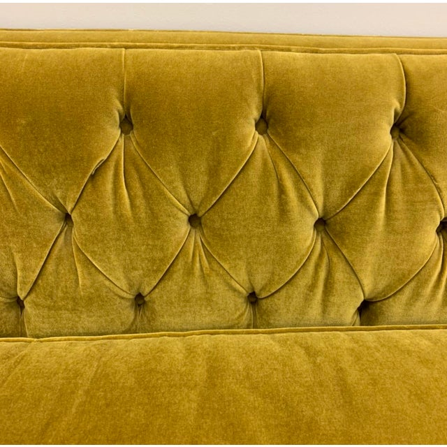 Mid-Century Modern Chartreuse Tufted Sofa For Sale - Image 3 of 6