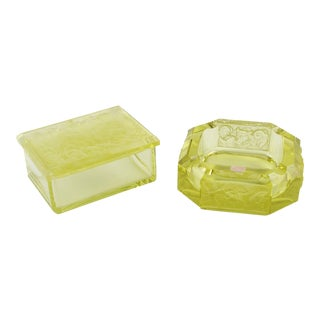 Bohemian Art Deco Vaseline Czech Glass Cigar Ashtray & Box For Sale