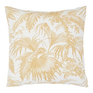 Schumacher Toile Tropique Pillow in Gold For Sale