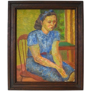 """""""Portrait of a Young Woman"""" Oil on Canvas, 1949 For Sale"""