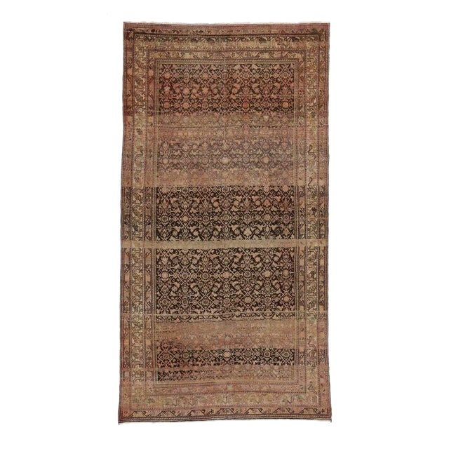 Antique Persian Malayer Rug with Modern Design and Industrial Aesthetic For Sale
