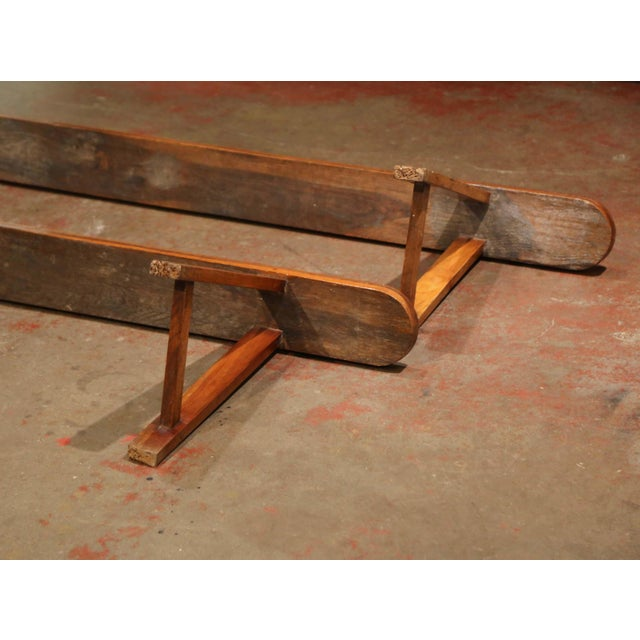 Pair of 19th Century French Provincial Carved Cherry Wood Trestle Benches For Sale - Image 9 of 10