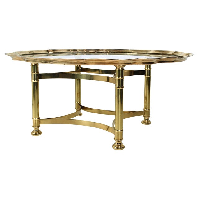 Scalloped Brass & Glass Cocktail Table - Image 3 of 8