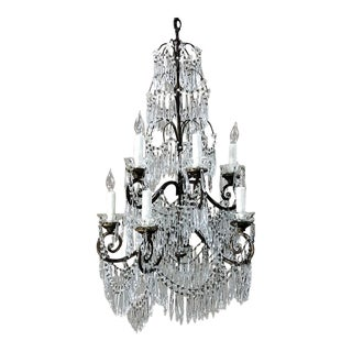 Antique Italian Art Deco Period Cut Crystal Chandelier For Sale
