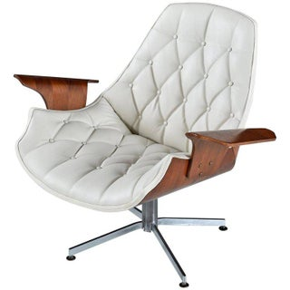 Tufted White Leather Plycraft George Mulhauser Horn Chair Preview