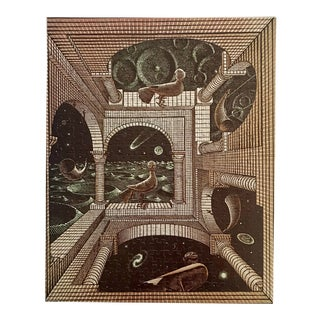 Vintage Escher Wall Art Framed Puzzle For Sale