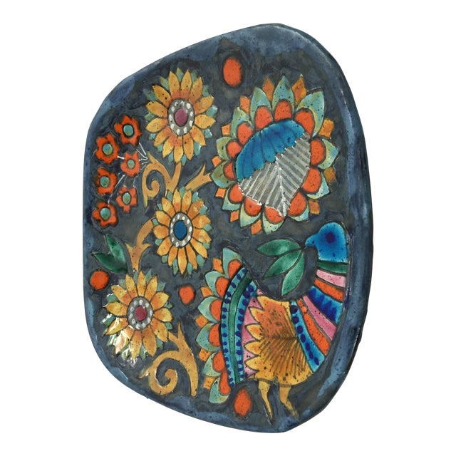 Hand-painted signed one of a kind decorative ceramic charger created by listed artist master potter in Quimper Marjatta...