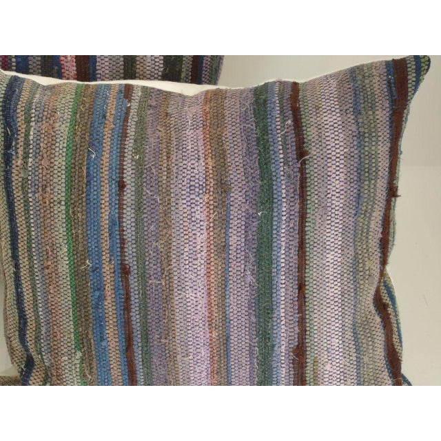 Rustic Amish Rag Rug Pillows with Linen Backing For Sale - Image 3 of 4