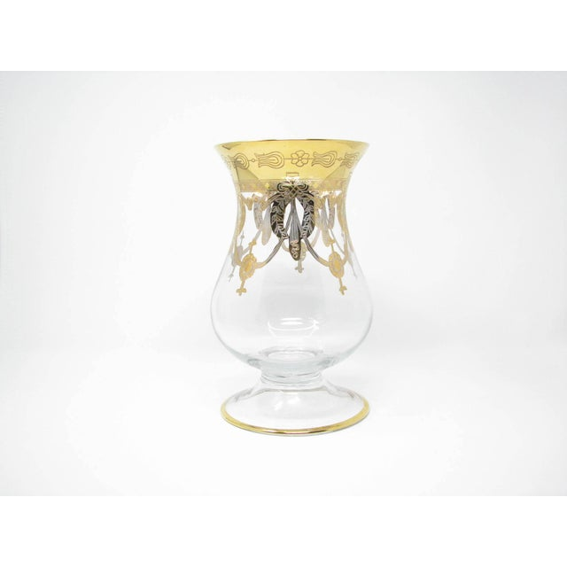 Vintage Same Cristallerie Italy Glass and 24k Gold Encrusted Large Footed Vase For Sale - Image 13 of 13