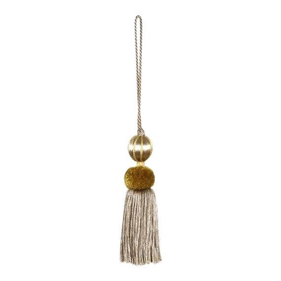 Merrivale Gold Beaded Key Tassel - H 4.5 Inches For Sale