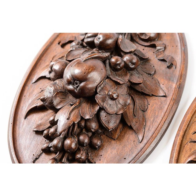 Pair of C.1860 carved fruit, wood plaques with fine detailed carving.