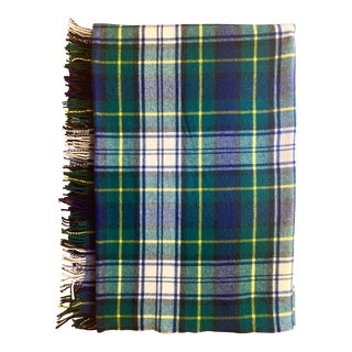 Antique Hilltop Navy Plaid Hand Loomed Wool Full Size Throw With Fringe For Sale
