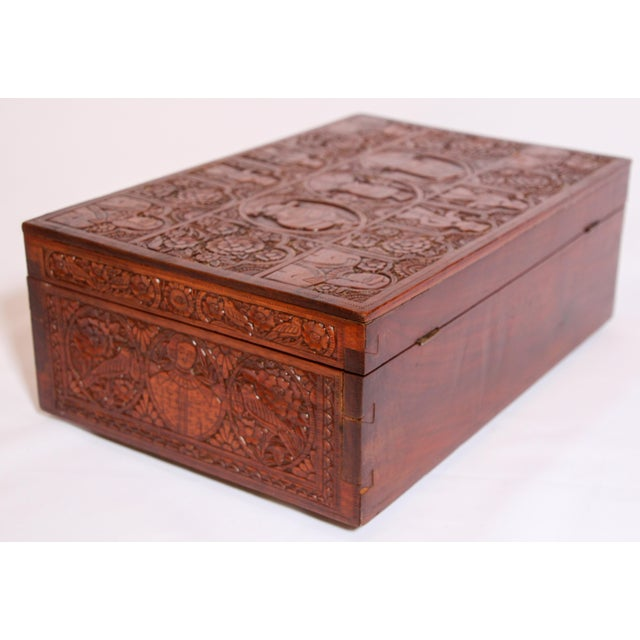 Wood Large Early 19th Century Antique Hand Carved Wooden Decorative Box For Sale - Image 7 of 13