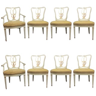 Hollywood Regency 8 Sweet Heart Dining Chairs Parcel Gilt Gold & Paint Decorated